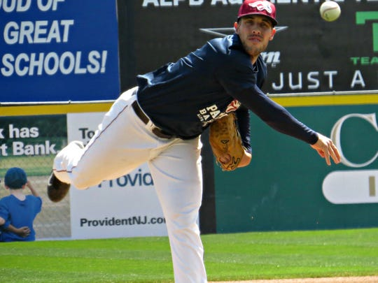 Mitch Atkins, shown in this file photo, pitched for the Somerset Patriots in 2017.