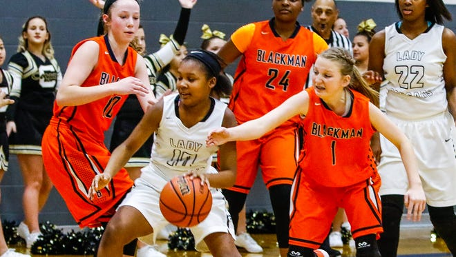 Christiana's Acacia Hayes controls the ball as Blackman's Mia Alexander defends during the Rutherford County Middle School Basketball championship Saturday.