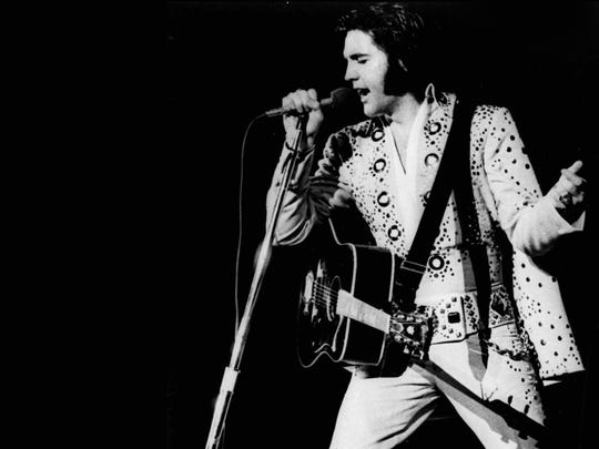 Elvis Presley performs in 1973, the year he recorded two sessions at Stax Records.