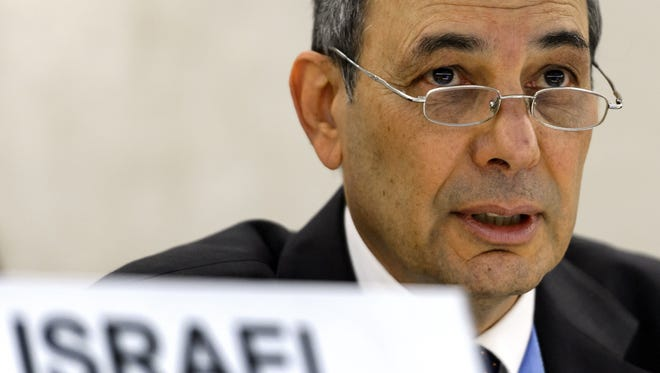 Israeli Ambassador Eviatar Manor looks on at the opening of a United Nations review of Israel's human rights record on October 29, 2013, at the UN European headquarters in Geneva.