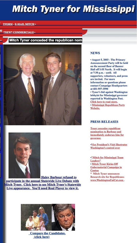 Mitch Tyner's campaign website from 2003 was still active on June 7, 2014, when he announced he was representing Chris McDaniel in a possible election challenge. The website's front page features a photo of Tyner and incumbent U.S. Sen. Thad Cochran, who defeated McDaniel in the GOP primary runoff for U.S. Senate.
