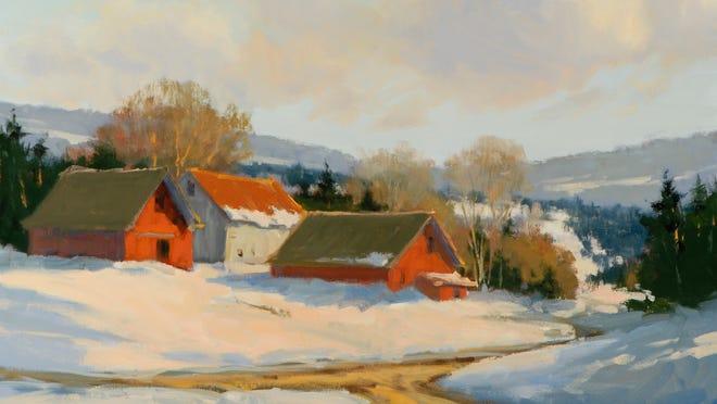 """""""Sunlit Farm at the Crossroads"""" by Carolyn Walton."""