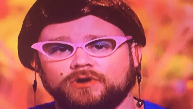 """William Penn High School culinary arts teacher Kip Poole  dressed as a """"lunch lady"""" for a Halloween episode of """"Guy's Grocery Games"""" on the Food Network."""