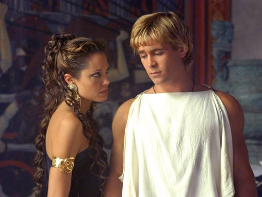 Queen Olympias (Angelina Jolie) confronts her son (Colin