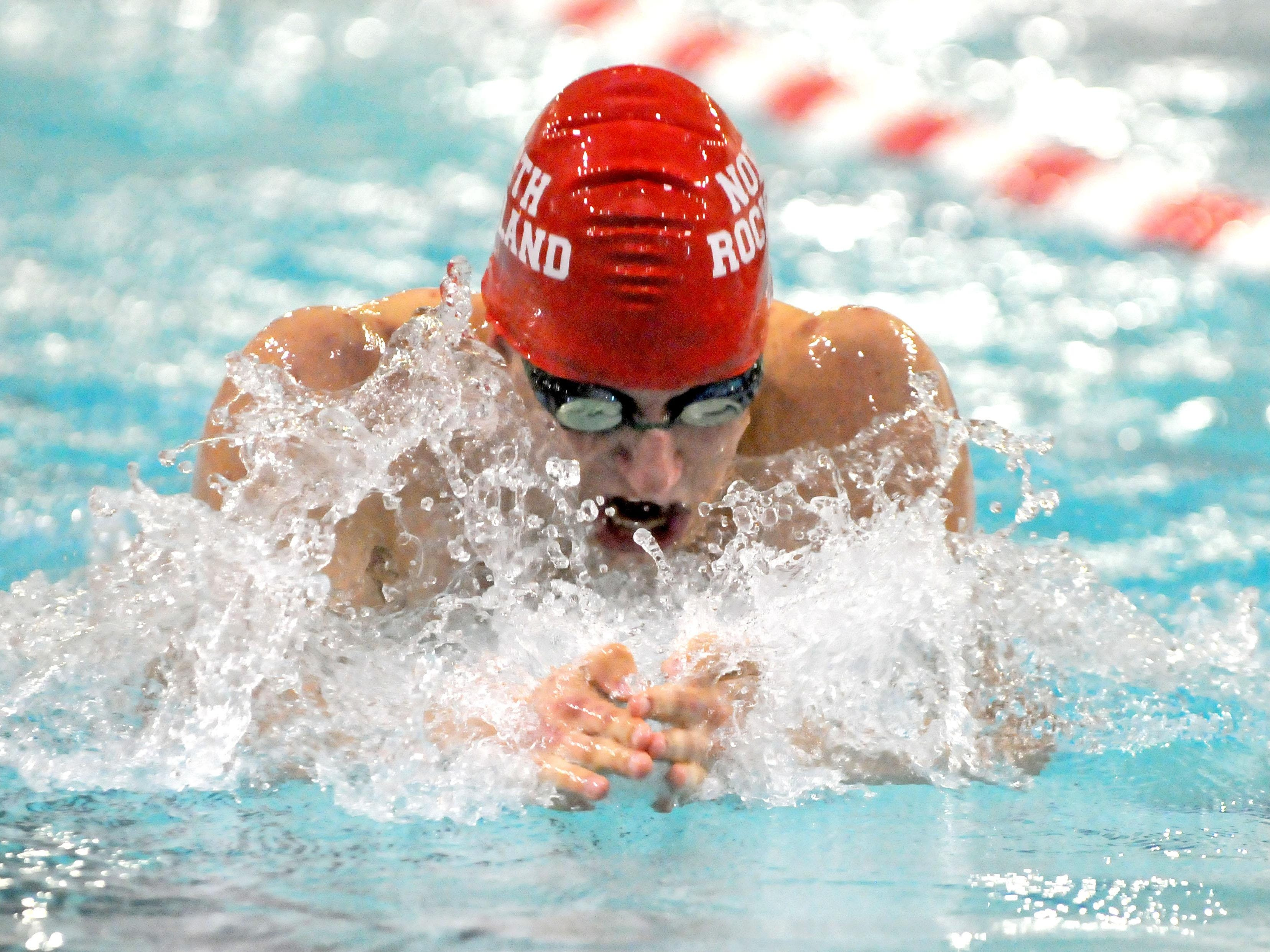 Matthew Zugibe, of North Rockland, swims the 100-yard breaststroke at the 2016 NYSPHSAA Swim Meet at Erie Community College's Flickinger Center in Buffalo on Friday.