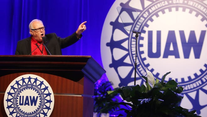 UAW  President Dennis Williams delivers his speech during day two of the 2015 Special Bargaining Convention at Cobo Center in downtown Detroit on Wednesday, March 25, 2015.