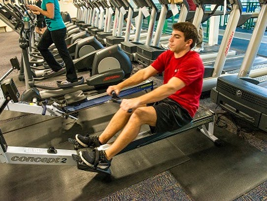 Rowing for upper body conditioning at Premier.