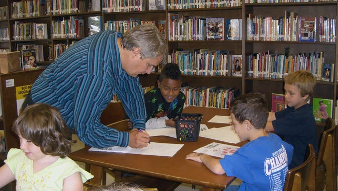 Students in the library at Keyport Central.