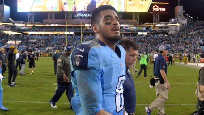 Titans quarterback Marcus Mariota reacts after the loss to the Jaguars at EverBank Field.