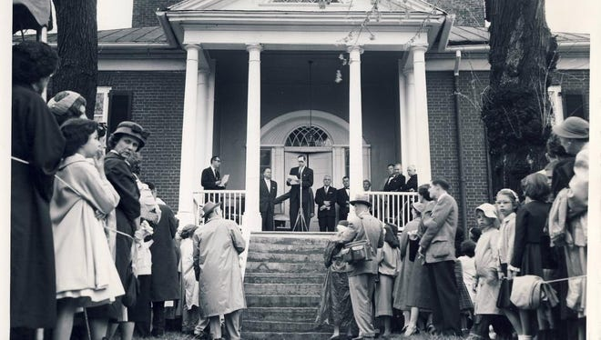 About 600 people turned out for a dedication event in 1959 at Farmington when it was opened to the public.  April 18, 1959, Courier-Journal photo by Robert Steinau