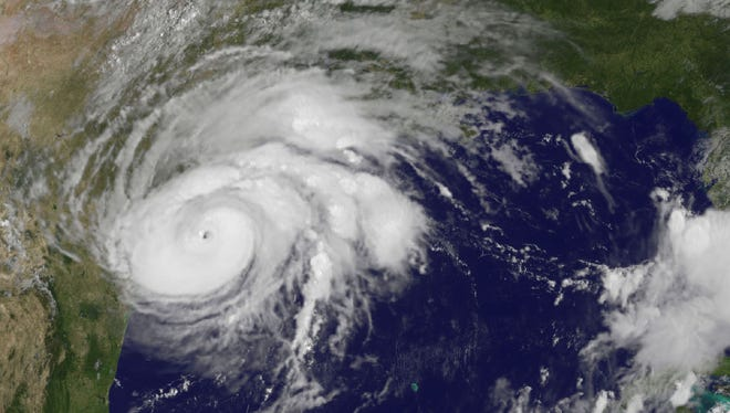 This satellite image captured Friday shows Hurricane Harvey as it was approaching the Texas Gulf Coast.