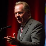 University of Louisville head football coach, Bobby Petrino,  speaks during the University of Louisville Football Luncheon at the Kentucky International Convention Center. August 21, 2015.