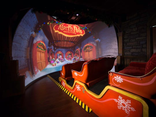 Guests will ride in an actual sleigh during a 4D movie