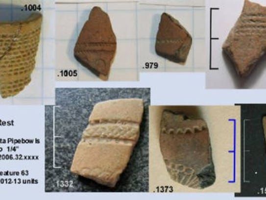 Artifacts uncovered at Avery's Rest, a 17th-century