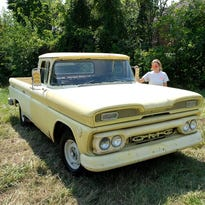 Yellow farm truck joins late cruisers on Woodward