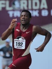 FSU's Steven Simpkins, a former high school runner at Maclay and East Gadsden, sprints during the 2017 FSU Relays.