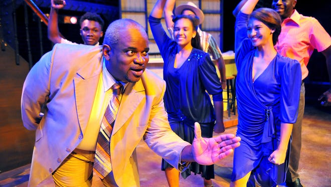 J. LeRoy Darby of Cocoa as Delray Farrell (middle) and the cast of Memphis the musical opening Oct 2 -18 at the Henegar Center Melbourne.