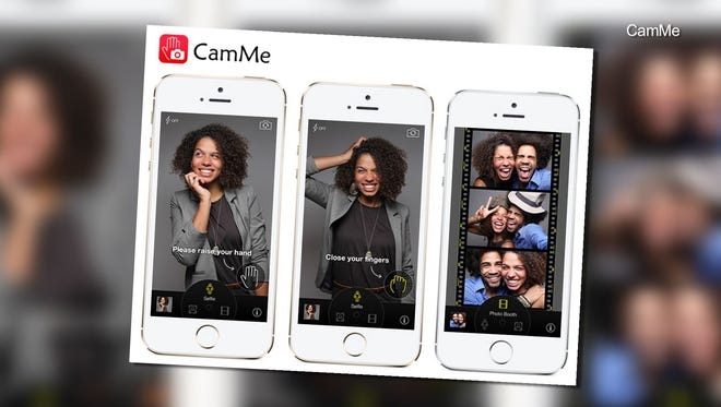 The CamMe app uses gesture control so users can take selfies at a distance longer than the length of their arm.