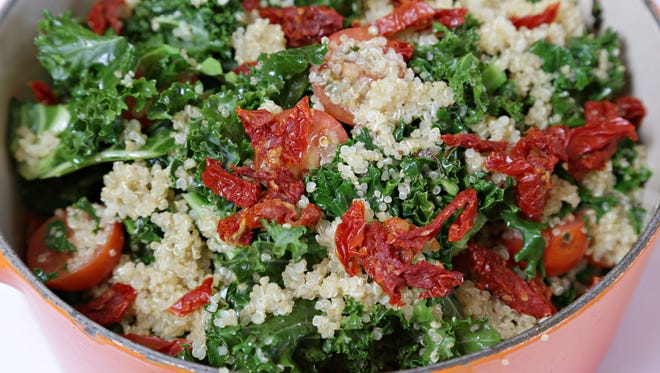 Warm Kale with Quinoa and Sundried Tomatoes. Prepared by chef Robert Nixon of the Wrigley Mansion.