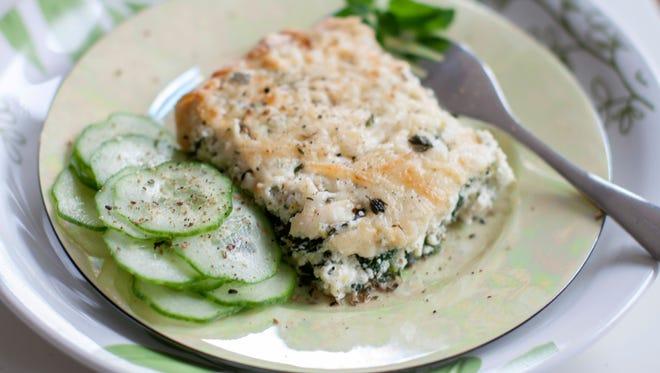 Ricotta spinach tart.