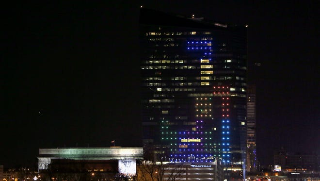 The classic video game Tetris is played on the 29-story Cira Centre in Philadelphia using hundreds of LED lights embedded in its glass facade.