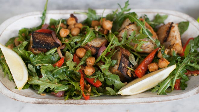 This recipe for grilled chickpea salad with red onion and sourdough bread finally puts that grilling pan to use.