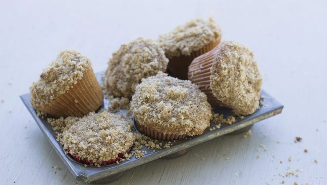 "Sprouted wheat muffins with streusel topping. Peter Reinhart's new book, ""Bread Revolution"" dives into the rising trends of sprouted and whole grains, as well as heirloom flours."