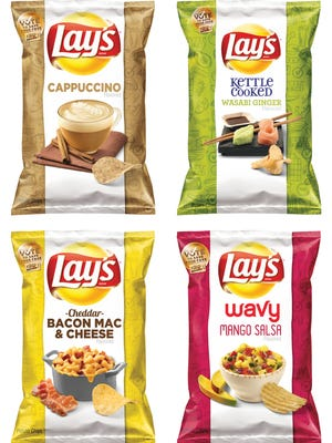 "This combination made from images provided by Frito-Lay shows the four finalists for its second annual ""Do Us a Flavor"" contest in the United States."
