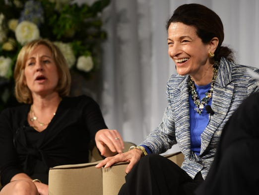 The 10th annual Power of the Purse luncheon featured Olympia Snowe, right, United States Senator from Maine (1994-2012), and Dee Dee Myers, White House Press Secretary (1993-1994), with Warren Wilson College president Steve Solnick moderating.  5/20/14- Erin Brethauer (ebrethau@citizen-times.com)