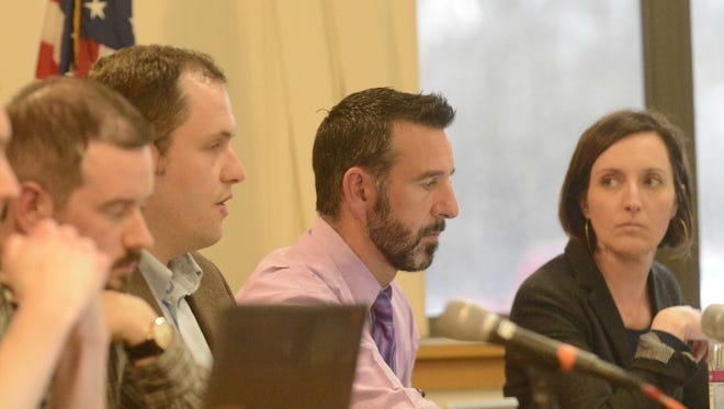 Members of the Winooski City Council speak about joining a lawsuit regarding the F-35 environmental impact statement released by the U.S. Air Force on Monday.