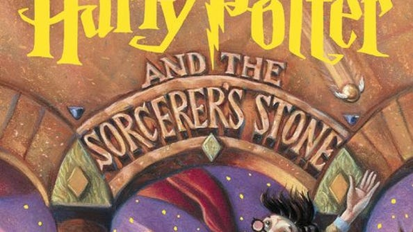 Shown is the cover of the book Harry Potter and the Sorcerer's Stone by J.K. Rowling.