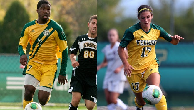 Vermont's Brian Wright, left, and Nikki McFarland, right, are the reigning America East soccer rookies of the year.