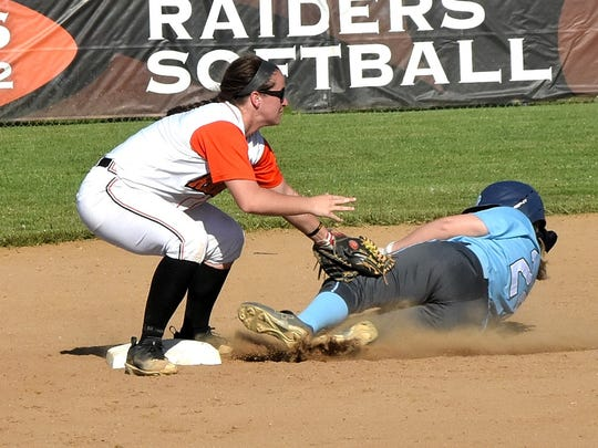 Ryle's Maclai Branson (1) bags the ball and tags Morgan Daniels (24) of Boone County for the would be out at Second Base but the umpire says safe on the call, May 1, 2018.