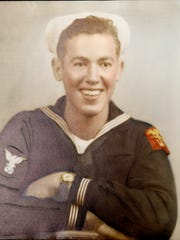 A photo of Morris Dennis in his Navy uniform taken shortly after World War II ended