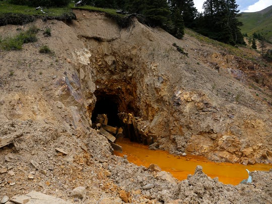 The mouth of the Gold King Mine, located north of Silverton, Colo., is pictured on Aug. 10, 2015, several days after a crew working on behalf of the U.S. Environmental Protection Agency breached the mine, causing toxic wastewater to enter the Animas River.
