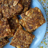 Date, coconut and peanut granola bars give slow-release energy that will keep you going for a few hours.