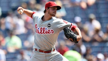 Phillies pitcher Aaron Nola probably won't be the frontline starter the team badly needs. Photo: Dale Zanine-USA TODAY Sports