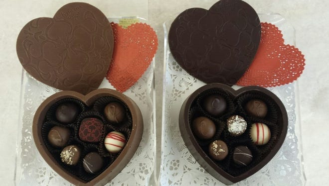 Edible chocolate boxes filled with truffles from Kilwins in Ridgewood.