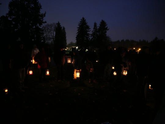 A sea of candlelit lanterns is seen as attendees begin to arrive for the 26th annual Advent Lantern Walk on Sunday, Nov. 27, 2016, at the Salem Golf Club.