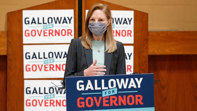 Nicole Galloway, Democratic candidate for governor, speaks during a campaign stop in Springfield.