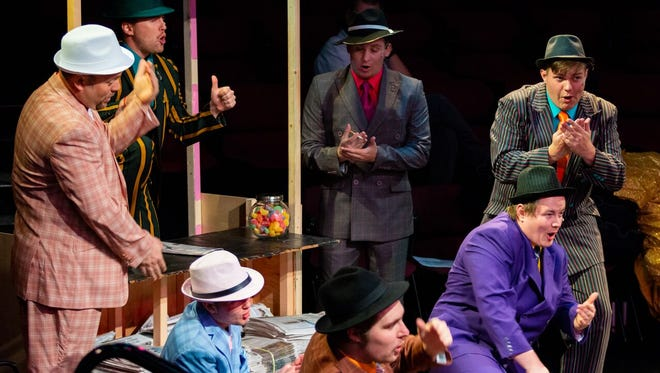 "The gamblers are all about the dice in ""Guys & Dolls"" at St. George Musical Theater."
