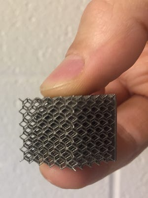An example of metal produced by a 3D printer
