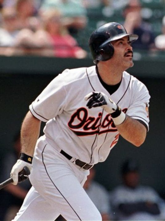 Rafael Palmeiro, seen here during his playing days with the Baltimore Orioles, will play with the Sugar Land Skeeters for the final three games of the Atlantic League regular season.