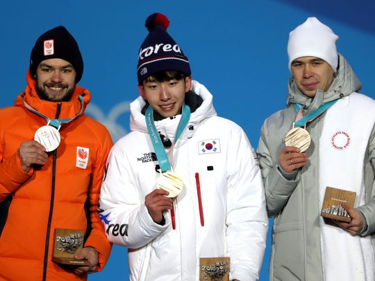 From left, silver medalist Sjinkie Knegt of the Netherlands,