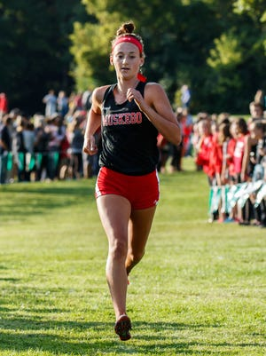 Muskego junior Kate Jochims runs to a second place finish in the West Allis Hale Leighton Betz Invitational cross country meet at Greenfield Park on Friday, Sept. 1, 2017.