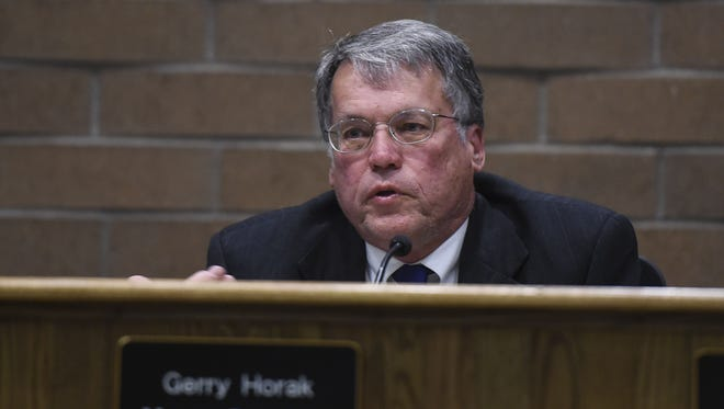 Gerry Horak is seen here during a city council meeting on April 14, 2015 at City Hall.