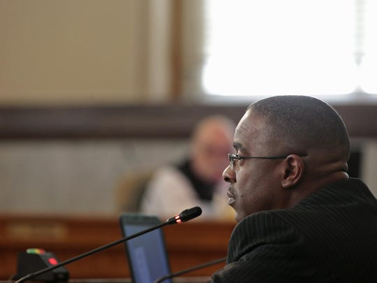 Cincinnati Park Board executive director Willie Carden addresses City Council's budget and finance committee, Monday, March 28, 2016, at Cincinnati City Hall.