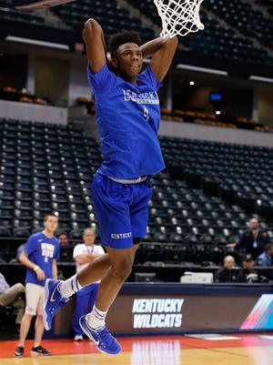Mar 16, 2017; Indianapolis, IN, USA; Kentucky Wildcats guard Hamidou Diallo during practice the day before the first round of the 2017 NCAA Tournament at Bankers Life Fieldhouse. Mandatory Credit: Brian Spurlock-USA TODAY Sports