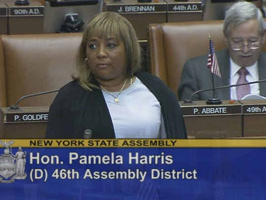 Assemblywoman Pamela Harris, D-Brooklyn, speaks during