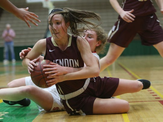 Senior forward Sarah Stark of top seed Pittsford Mendon is a captain for the defending Section V Class A1 champions with Courtney Burke.